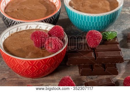 Homemade Chocolate Mousse With The  Fresh Raspberry