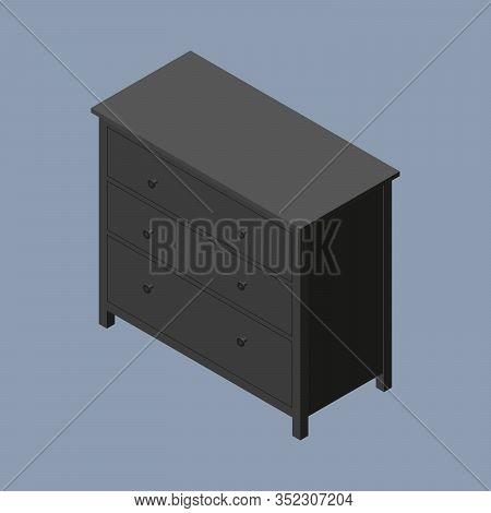 Black Wooden Dresser With Black Knobs. Vector Isometric Illustration. 3d Flat Style Vector Illustrat