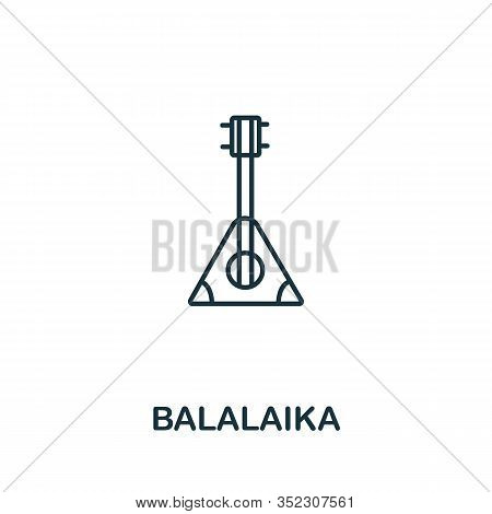 Balalaika Icon From Russia Collection. Simple Line Balalaika Icon For Templates, Web Design And Info