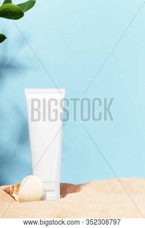 Unbranded White Tube. Cosmetics Product Container With Place For Text. Blank Mockup For Facial Cream