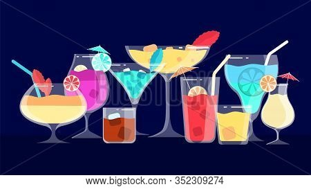 Cocktails. Alcoholic And Non-alcoholic Drinks. Bar Or Cafe Or Restaurant Menu Banner. Evening And Ni