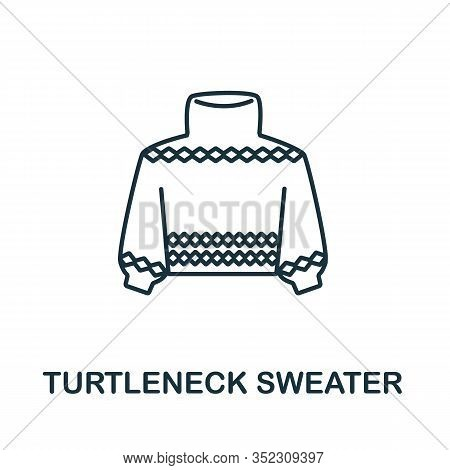 Turtleneck Sweater Icon From Winter Collection. Simple Line Element Turtleneck Sweater For Templates