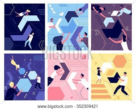 People And Geometric Shapes. Puzzle Collection, Organization Or Teamwork. Group Of Person Collecting