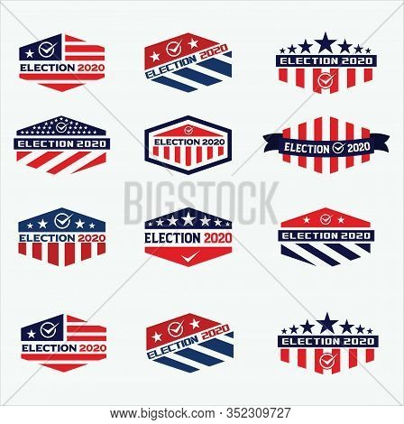 Big Set Of 2020 United States Of America Presidential Election Logo. Election Day Logo 2020 Vector S