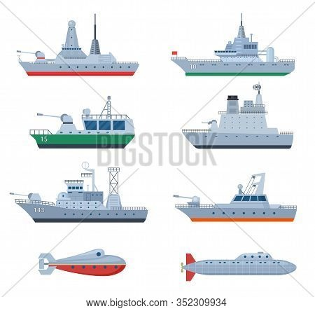 Military Boats. Combatant Warship, Security Frigate. Isolated Naval Defense Combat Icons. Force And