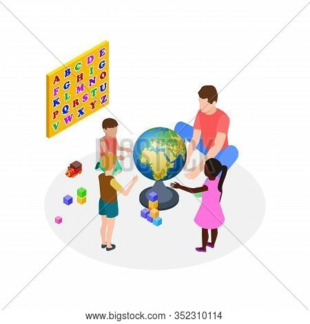 Children Education. Teaching Kids, Preschoolers Learning. Isometric Man Teacher International Kinder