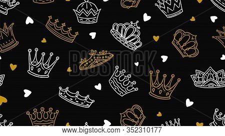 Doodle Crown Pattern. Gold White Royal Elements Tbackground. Little Prince Or Princess Vector Seamle