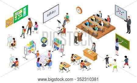 Isometric School. 3d College, Teachers Board And Students. University Elements, Lecture Room And Fur