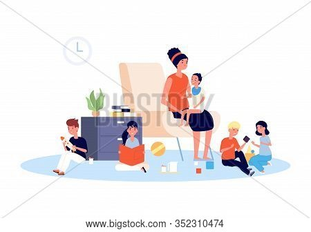Nanny With Children. Babysitter, Infant Baby And Playing Kids. Large Family Or Motherhood, Mother Wi
