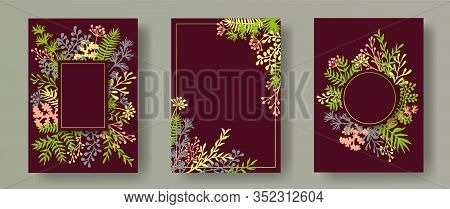 Botanical Herb Twigs, Tree Branches, Leaves Floral Invitation Cards Set. Plants Borders Romantic Car
