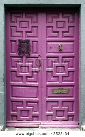 Purple Wooden Front Door, Mexico