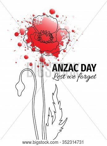 Anzac Day Banner. One Line Illustration Of A Poppy Flower With Red Watercolor Splatters. Remembrance