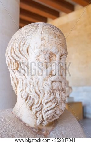 Athens, Greece - October 14, 2016: Ancient Bust Of Herodotus In Stoa Of Attalos, Athens, Greece Clos
