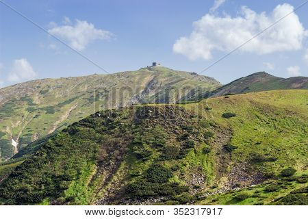 Mountain Peak Pip Ivan With Building Of Inoperative Abandoned Old Observatory On Top In Summer. Chor