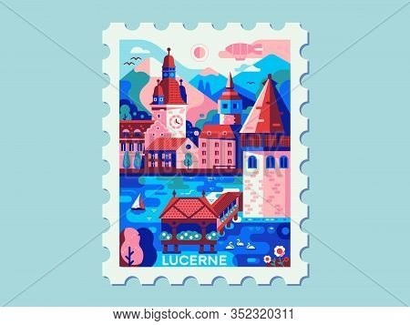 Alps Mountains Town Lucerne Vintage Travel Mark