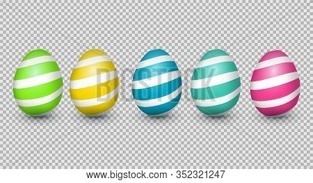Element Design For Happy Easter Card. , Five 3d Realistic Colorful Eggs On Transparent Background.