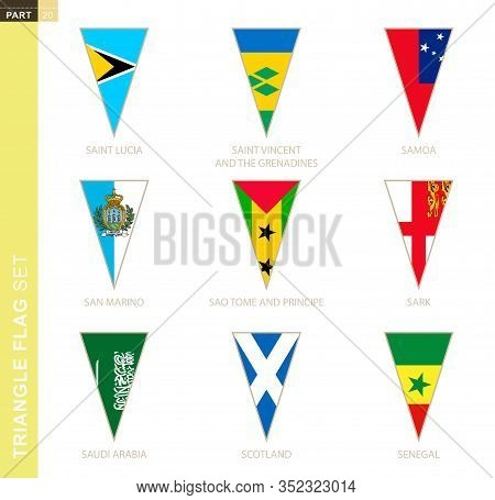 Triangle Flag Set, Stylized Country Flags Of Saint Lucia, Saint Vincent And The Grenadines, Samoa, S