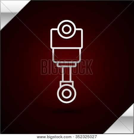 Silver Line Engine Piston Icon Isolated On Dark Red Background. Car Engine Piston Sign. Vector Illus