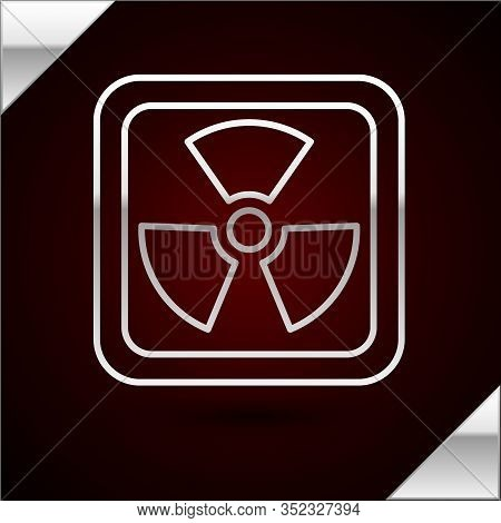 Silver Line Radioactive Icon Isolated On Dark Red Background. Radioactive Toxic Symbol. Radiation Ha