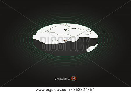 Swaziland Map In Dark Color, Oval Map With Neighboring Countries. Vector Map And Flag Of Eswatini