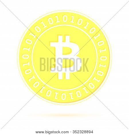 Bitcoin, Internet Currency Coin Isolated On White Background. Btc Gold Yellow Coin. Cryptocurrency,