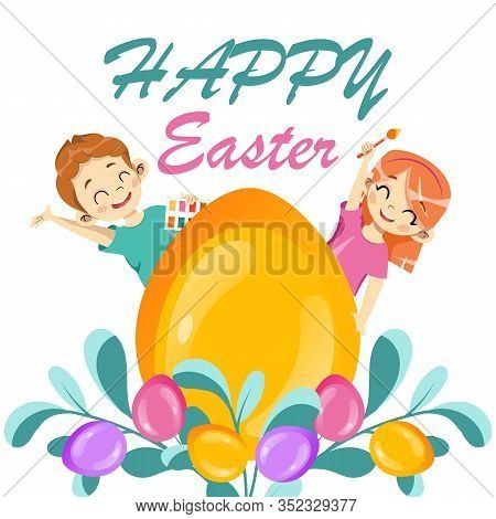 Template Of Happy Easter Postcard. Gold Glitter Paschal Egg With Easter Ornate, Holiday Wishes And H