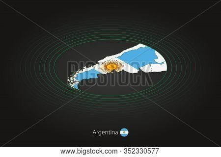 Argentina Map In Dark Color, Oval Map With Neighboring Countries. Vector Map And Flag Of Argentina