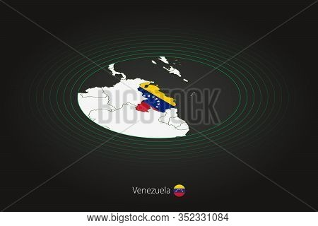 Venezuela Map In Dark Color, Oval Map With Neighboring Countries. Vector Map And Flag Of Venezuela