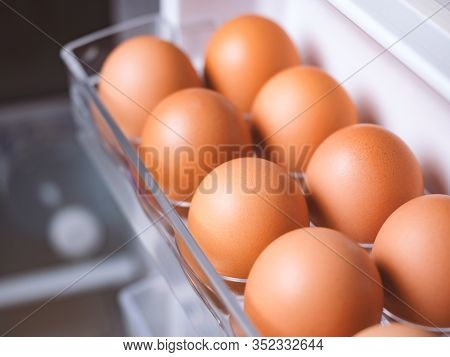 Organic Chicken Eggs Are One Of The Food Ingredients In The Egg Compartment In The Refrigerator. Org