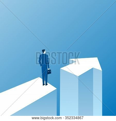 Business Opportunity And Decision Concept With Businessman Standing Next To Direction Arrow. Symbol