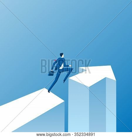 Business Opportunity And Decision Vector Concept With Businessman Standing Next To Direction Arrow.