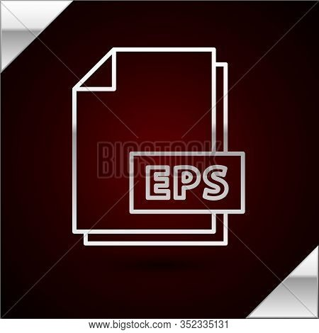Silver Line Eps File Document. Download Eps Button Icon Isolated On Dark Red Background. Eps File Sy