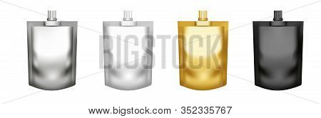 Set Of Realistic Pouch Doypack With Top Spout