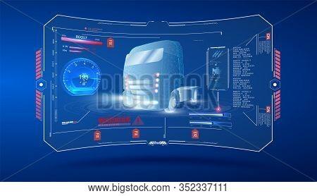 Autonomous Smart Truck. Unmanned Vehicles. Artificial Intelligence Controls The Autonomous Truck. Ho