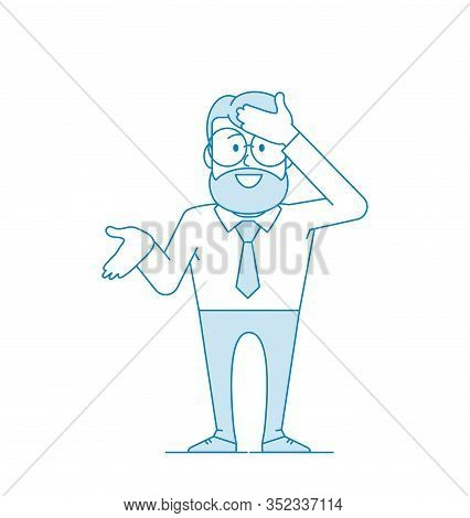Character - A Man In Glasses And With A Beard Hits His Forehead With His Open Hand. As I Did Not Imm