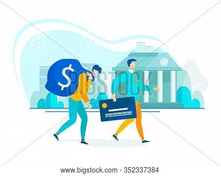 Business And Finance Modern Flat Businessman With Big Bag Dollar And Advantages Credit Card. Tired A