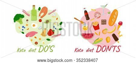 Keto-diet Pros - Seafood, Vegetables, Berries, Eggs, Chicken - And Cons - Pastry, French Fries, Cola