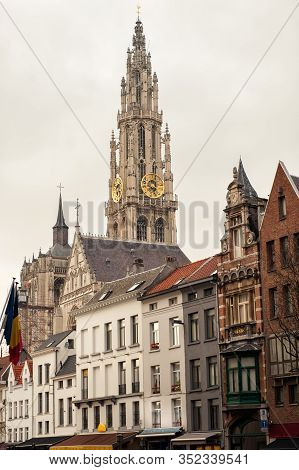 Vertical View Of Bell Tower Of Cathedral Of Our Lady In Antwerp, Unesco World Heritage Site In Belgi