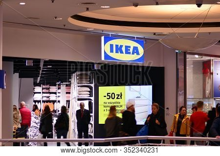 Warsaw, Poland. 10 November 2018. Sign Ikea. Company Signboard Ikea.