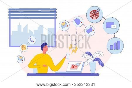 Hard Work Day, Businessman Workplace In Office. Man Works On Project With Documents On Laptop, Answe