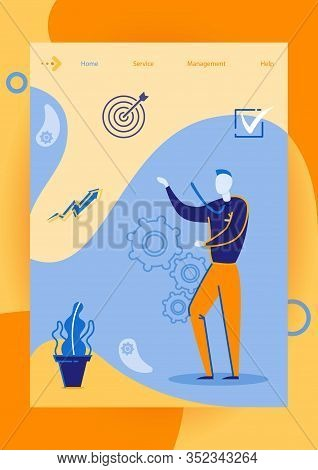 Target Marketing Flat Cartoon Vector Illustration. Manager In Siut. Goal Achievement, Customers Targ