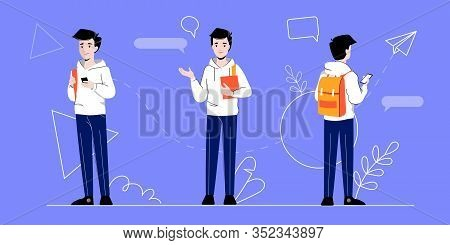 Businessman And Self Employment Concept. Self Confident Businessman Character In Different Poses On
