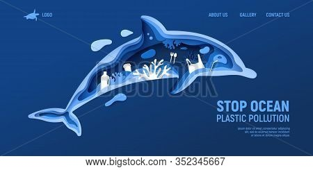 Ocean Plastic Pollution Page Template With Dolphin Silhouette. Paper Cut Dolphin With Plastic Rubbis