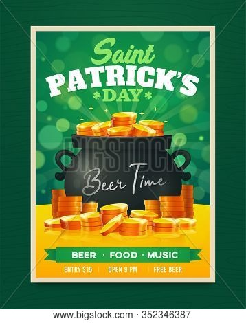Saint Patricks Day Party Poster Design. Nightclub Invitation. Patricks Day Flyer, Brochure, Holiday