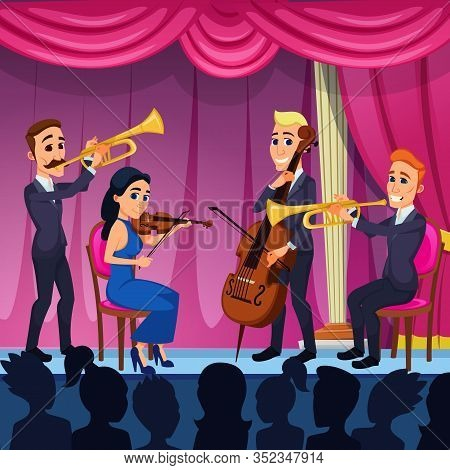 Bright Banner Orchestra Classical Music Cartoon. Wonderful Creative School For Symphony Orchestra. T