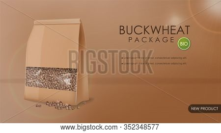 Buckwheat Package Vector Realistic Mock Up. 3d Detailed Product Placement. Advertise Label Designs