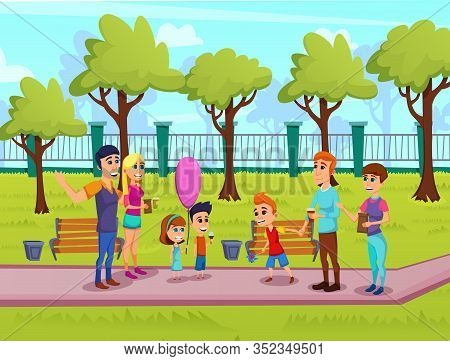 Bright Flyer Summer Family Fair Cartoon Flat. Holding Games And Competitions For Children At Fair. F