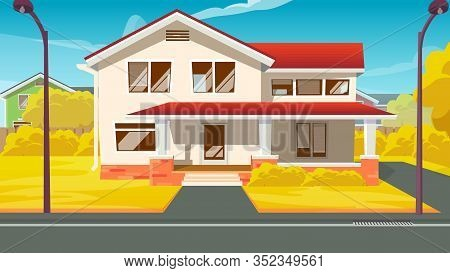 Dream Villa Or Luxury Countryside House Exterior Flat Cartoon Vector Illustration. Detached Family H