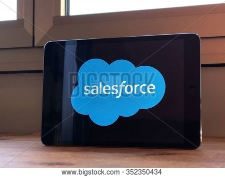 January 2020 Parma, Italy: Salesforce Company Logo Icon On Tablet Screen Close-up. Salesforce Brand