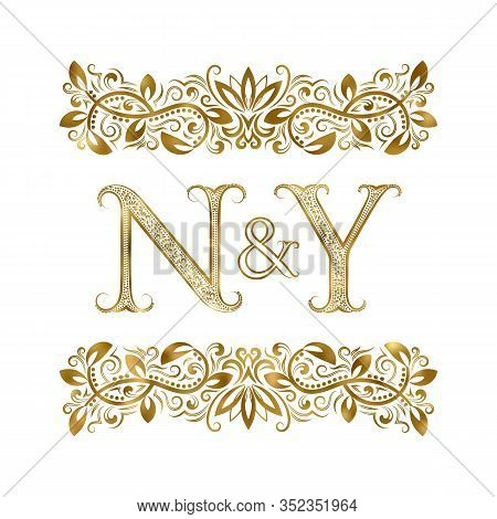 N And Y Vintage Initials Logo Symbol. The Letters Are Surrounded By Ornamental Elements. Wedding Or